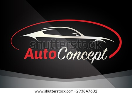 Auto Company Logo Vector Design Concept with Sports Car Silhouette - Red - stock vector