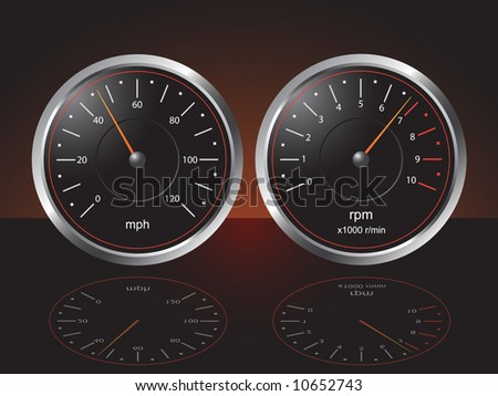 Auto Dashboard Gauges with Reflections - Vector - stock vector