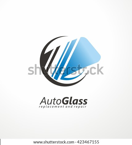 Auto Glass Creative Logo Design Idea. Windshield Vector Symbol Concept.  Service And Repair.