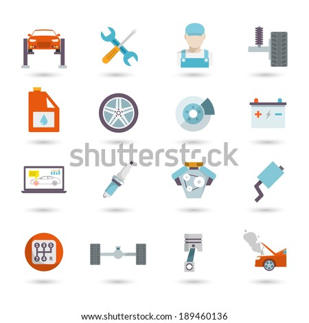 Auto mechanic car service transport work and maintenance icons isolated vector illustration - stock vector