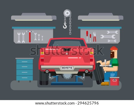 Auto mechanic fixing car in auto repair garage flat vector illustration - stock vector