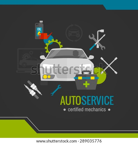 Auto mechanic flat icon with car repair tools set vector illustration - stock vector