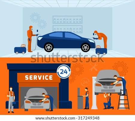 Auto mechanic garage service 2 flat vectores en stock for Stima del costo del garage gratuita