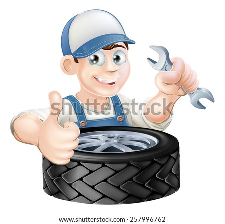 Auto mechanic giving thumbs up with a spanner and auto-mobile vehicle tyre - stock vector