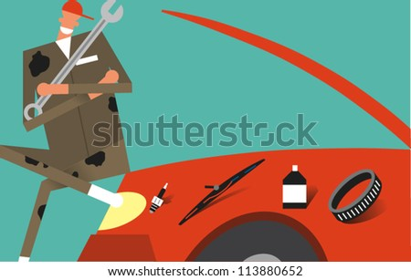 Auto mechanic holding a wrench sits on the hood of a car he's repairing with parts to be replaced lined up on the fender - stock vector
