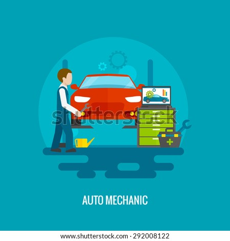 Auto mechanic in repair service center with car and working tools flat vector illustration - stock vector