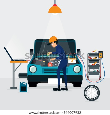 Auto mechanic repairing a car with the engine running and the computer. - stock vector