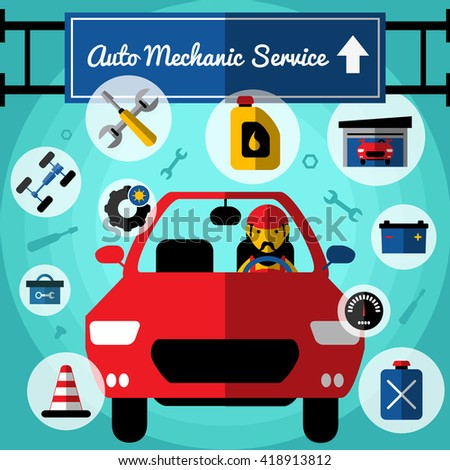 Auto mechanical service decorative icons set with car driver fuel garage toolbox chassis tires speedometer vector illustration - stock vector