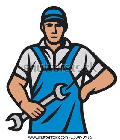 auto mechanics - professional worker (car mechanic worker, auto mechanics, professional worker, car service man) - stock vector