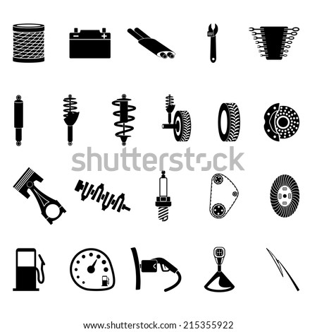 auto parts icon set on gray background - stock vector