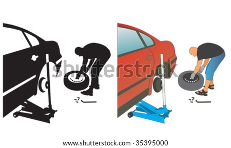 auto repair. changing a punctured automobile wheel tire - stock vector