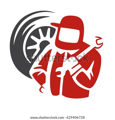 auto repair shop logo repairman silhouette stock vector royalty rh shutterstock com automotive repair shop logos auto mechanic shop logos