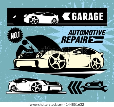 Auto repair shop sign - stock vector