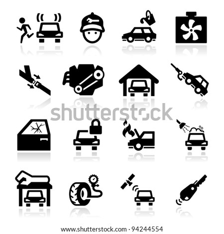 Auto Repairs Icons set - Elegant series - stock vector