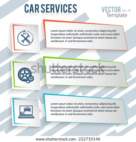 Auto service and car repair background with icons design elements on gray oblique stripes background. Modern business presentation template. Advertising vehicle repair newsletter. Vector images eps 10 - stock vector