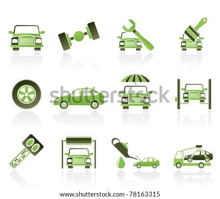 auto service and transportation icons - vector icon set - stock vector