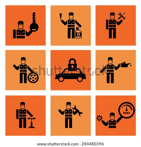 Auto service car auto mechanic repair icons flat set isolated vector illustration - stock vector