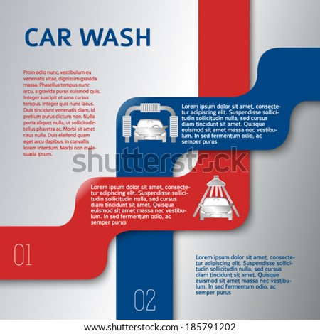 Auto service & car wash background with icons design elements. Modern business presentation template for car-wash flyer. Abstract vector illustration eps 10 can be used for brochure layout, web banner - stock vector