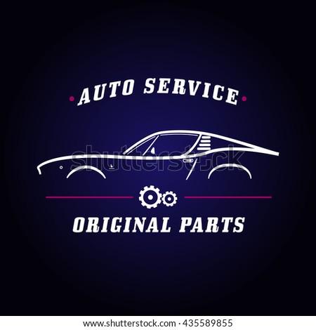 Auto Service Classic Car Logo Retro Stock-Vektorgrafik 435589855 ...