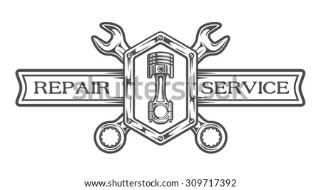 Auto service emblem, sign. Wrench, plunger and place for text. The monochrome style. - stock vector