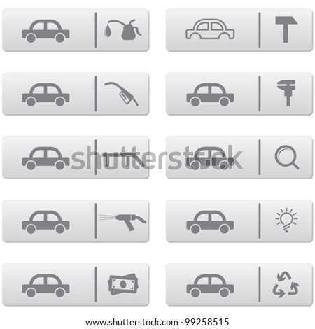 auto service signs and icons over grey plastic buttons set for web design and high quality print