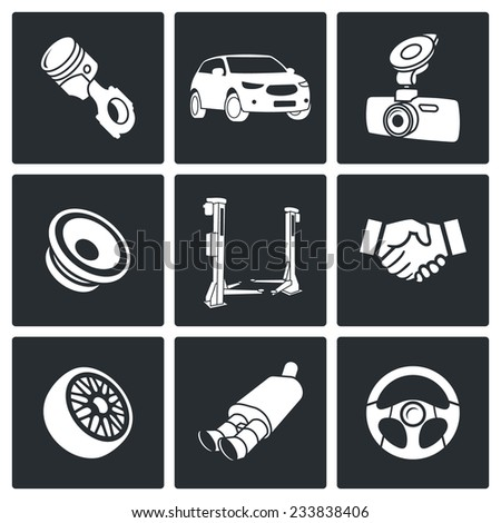 Auto Service Vector Isolated Flat Icons Set - stock vector