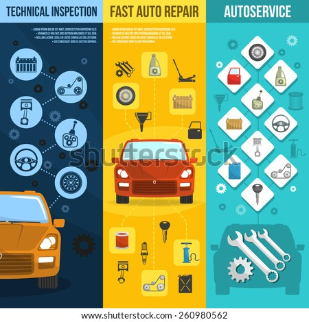Auto service vertical banner set with technical inspection car repair isolated vector illustration - stock vector