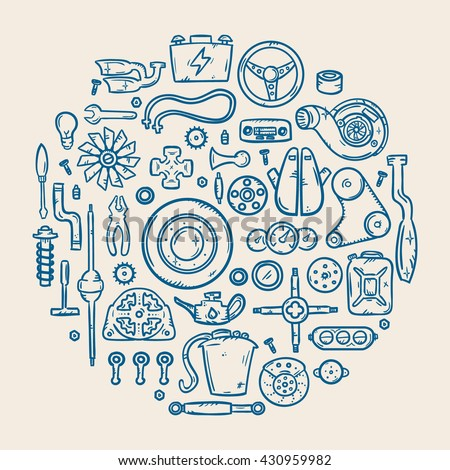 Auto spare parts line vector icons in circle composition. Car auto part spare detail, repair detail part, gear detail auto, auto brake detail illustration - stock vector