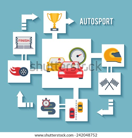 Auto sport concept with paper car wheel helmet and award flat icons vector illustration - stock vector