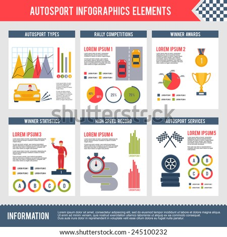 Auto sport infographics set with bolide trophy flag automobile competition charts vector illustration - stock vector