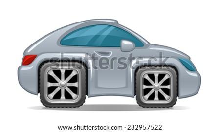 Auto square wheels  - stock vector