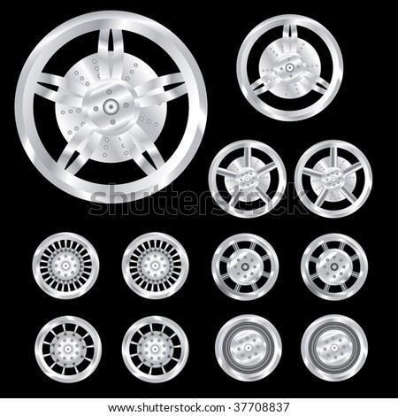 auto wheels, chrome - stock vector