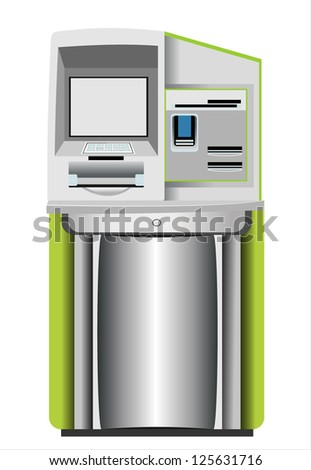 Automated teller machine isolated on white - stock vector