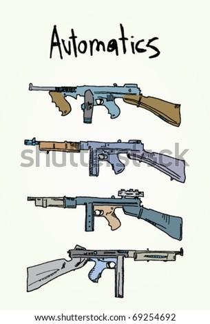 Automatic Guns Vector Illustration - stock vector