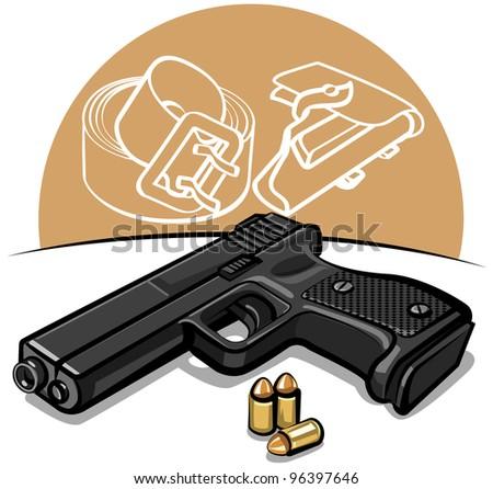 automatic handgun - stock vector