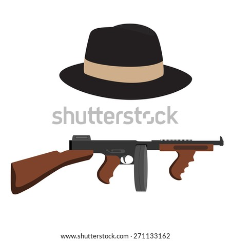 Automatic weapon gun and brown, classic fedora hat. - stock vector