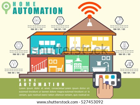 Automation home infographic, Smart house technology system line flat with cutaway diagram, illustrator Vector