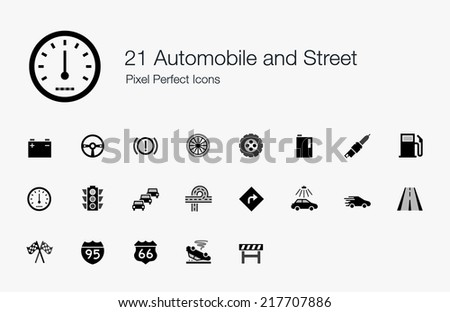 Automobile and Street Pixel Perfect Icons - stock vector