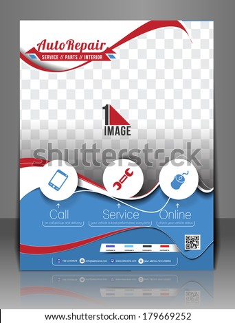 Automobile Center Front Flyer & Poster Template.  - stock vector