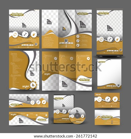 Automobile Center Stationery Set Template - stock vector
