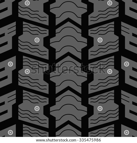 Automobile winter studded tire seamless vector pattern. - stock vector