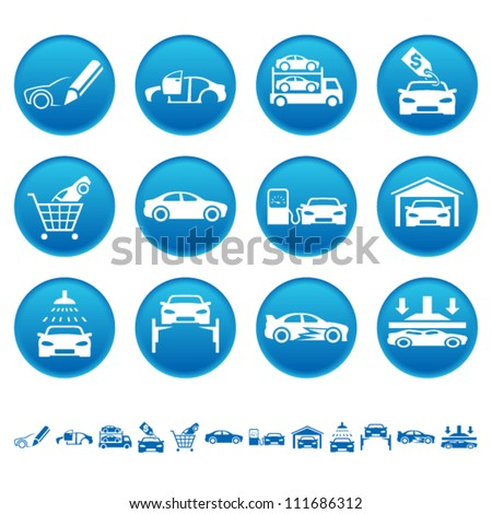 Automotive icons - stock vector