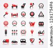 Automotive red icons with reflection. - stock vector
