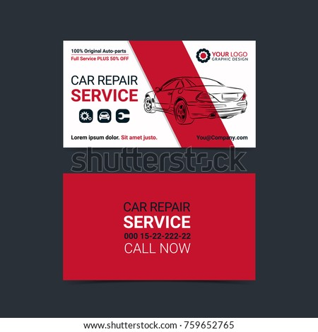 Vetor stock de automotive service business cards layout templates automotive service business cards layout templates create your own business cards mockup vector illustration reheart