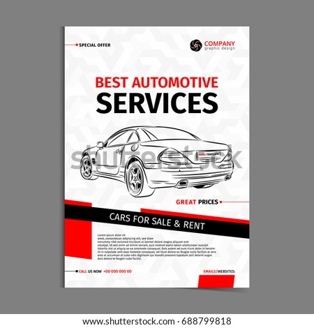 Automotive Services Layout Template Cars Sale Stock Vector