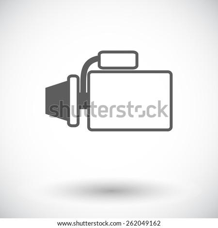 Automotive starter. Single flat icon on white background. Vector illustration. - stock vector