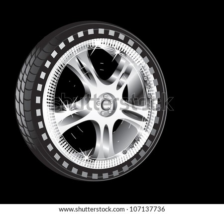 automotive wheel with alloy wheel and low profile tire - stock vector