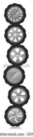 automotive wheel with alloy wheels and crude rubber tires. - stock vector