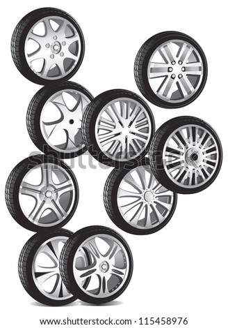 automotive wheel with alloy wheels and low profile tires - stock vector