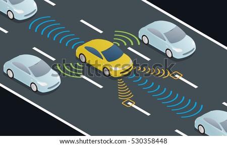 Autonomous Car Driving On Road Sensing Stock Vector